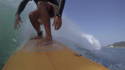 POV Japanese pro surfer in the ocean, Japan Footage