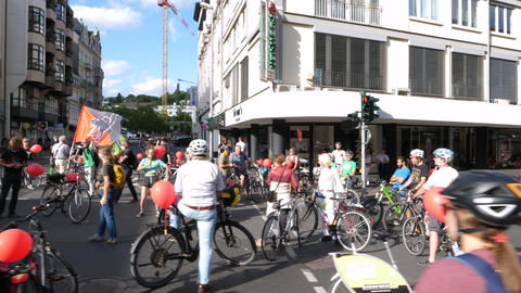 Verkehrswende bicycle demonstration in the city center of Wiesbaden Live Action