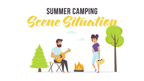 Summer camping - Scene Situation Plantilla de After Effects