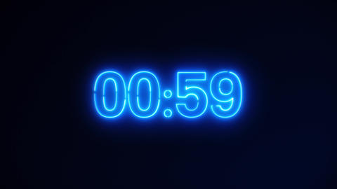 Blue Neon Light 60 Seconds Countdown on black background. Running dynamic light Animation