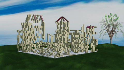 Construction of the city, from randomly stacked building elements, creates Animation