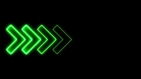 Video footage of glowing right neon Green arrows. Looped Neon Lines abstract VJ Animation