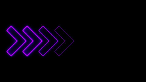 Video footage of glowing right neon arrows. Looped Neon Lines abstract VJ Animation