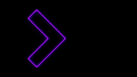 Video footage of glowing right neon Purple arrows. Looped Neon Lines abstract VJ Animation