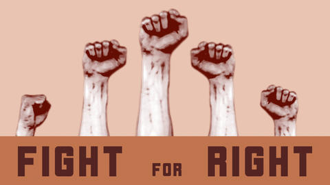 Human fists raised up fight for right on beige background. National movement for Live Action