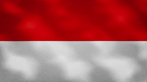 Indonesian dense flag fabric wavers, background loop Animation