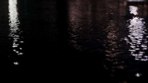 Abstract reflections on the surface of the water. Reflections of lanterns in the Live Action