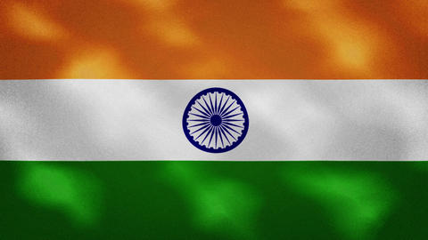 Indian dense flag fabric wavers, background loop Acción en vivo
