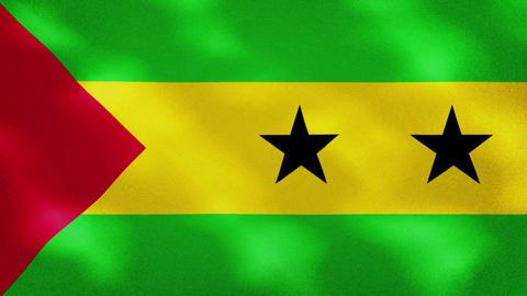 Sao Tome and Principe dense flag fabric wavers, background loop Animation