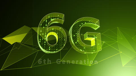 6G Digital Network technology 6th generation mobile communication concept background 37 green Animation
