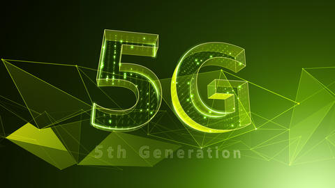 5G Digital Network technology 5th generation mobile communication concept background 37 green Animation