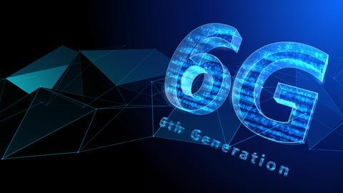 6G Digital Network technology 6th generation mobile communication concept background 37 blue Animation