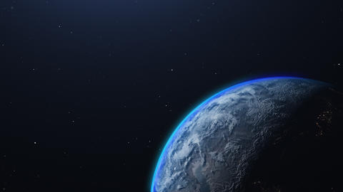 The Earth from space. Night changes to day, sunrise on the Earth. 3d animation Live Action