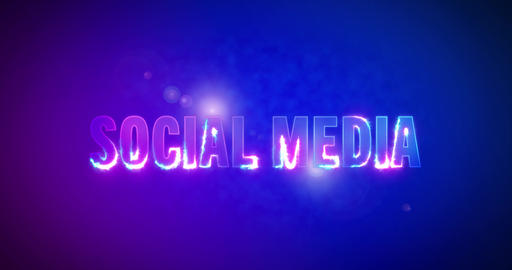 Social Media. Electric lightning words. Logotype Animation