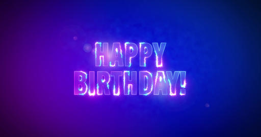Happy Birthday. Electric lightning words. Logotype Animation