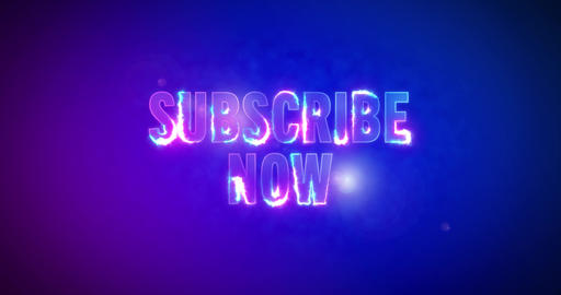 Subscribe now. Electric lightning words. Logotype Animation