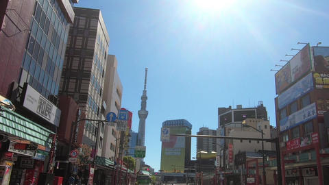 Japanese city landscape. Driving video near Tokyo and Asakusa Live Action
