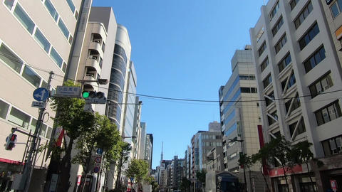 Tokyo scenery. Driving video of a road surrounded by buildings Live Action