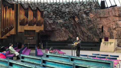 Helsinki, Finland, February 20 2017: A bridge over a organ in front of a Live Action