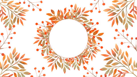Animation of a frame with watercolor autumn leaves on a white background. Red Live Action