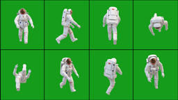 Walking astronaut in different positions with green screen background Animation