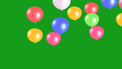 Flying party balloons motion graphics with green screen background Animation