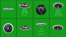 Flying saucer in different positions with green screen background Animation