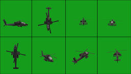 Flying helicopter in different positions with green screen background Animation