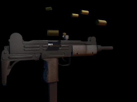 Machine gun UZI f Stock Video Footage