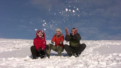 friends throw snow Stock Video Footage