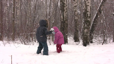 children throw snow Footage