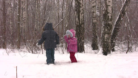 children throw snow Stock Video Footage
