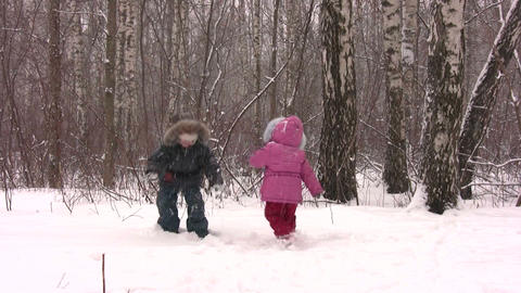 children throw snow Stock Video Footage
