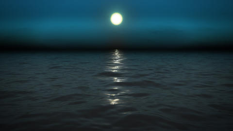 night sea with moon Stock Video Footage