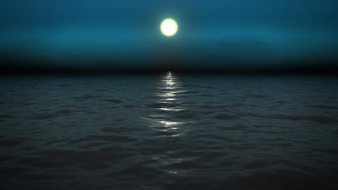 night sea with moon Animation