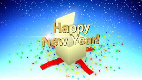Happy new year box Stock Video Footage