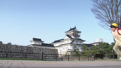 Toyama / Azumi Castle with Children 富山 安住城 Stock Video Footage