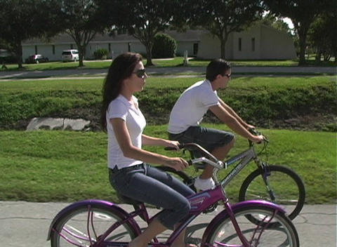 Couple Riding Bicycles :30 Footage