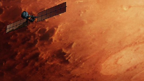 Satellite over red mars surface Stock Video Footage