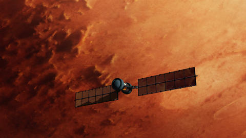 Satellite over red mars surface Animation