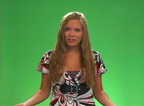 "Beautiful Teen Blonde Says ""Work with me (here)"" Stock Video Footage"