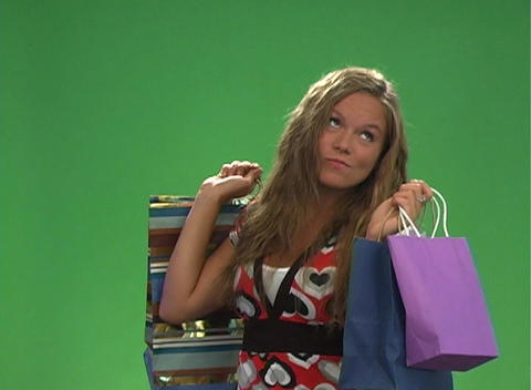 Beautiful Teen Blonde with Shopping Bags (2) Footage