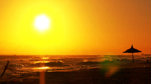 Morning Sun At A Beach stock footage