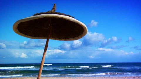 Sunny Beach Umbrella stock footage