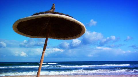 Sunny Beach Umbrella Stock Video Footage
