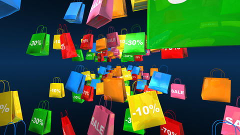 shopping bags flying 2 Stock Video Footage