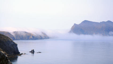 Time-lapse of clouds flowing over the channel islands in... Stock Video Footage