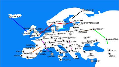 4 K European Cities Subway Map Design 3 Stock Video Footage