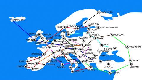 European Cities Subway Map Design 1 Stock Video Footage