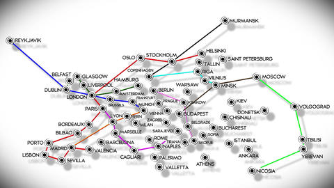 European Cities Subway Map Design 3 Animation